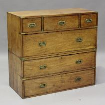 A late 19th century mahogany and brass bound campaign chest of three short and three long drawers,