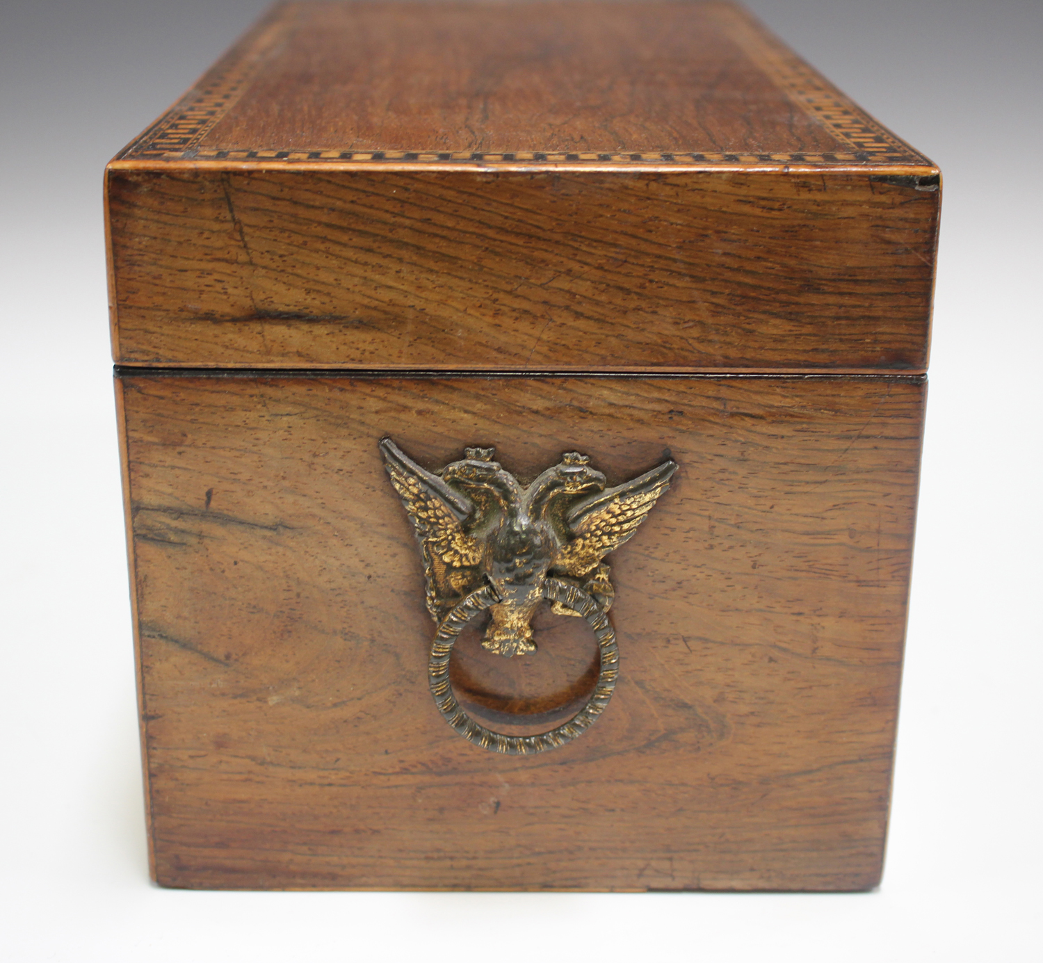 A George III rosewood tea caddy with inlaid running scroll borders and applied gilt metal phoenix - Image 7 of 10