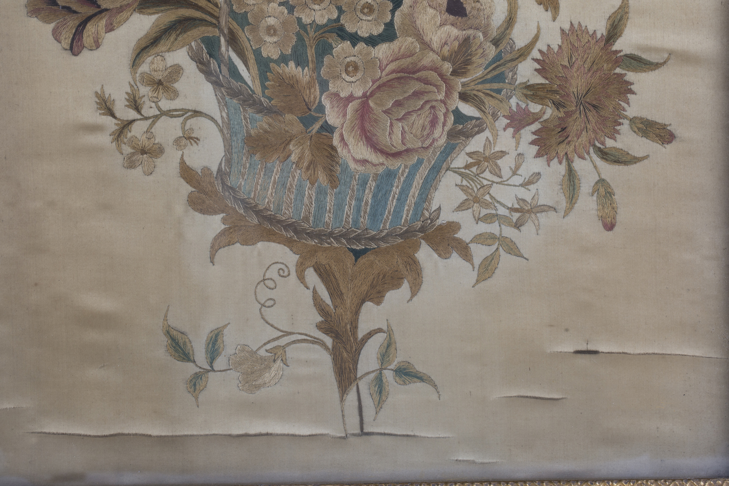 A near pair of late 19th century Japanese silk and metal thread stumpwork panels, both depicting - Image 9 of 31