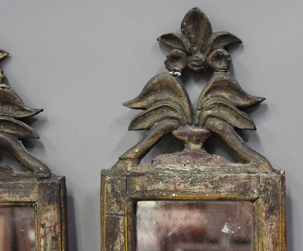 A pair of Italian gilt and simulated marble pier mirrors, probably 18th century, each narrow frame - Image 5 of 7
