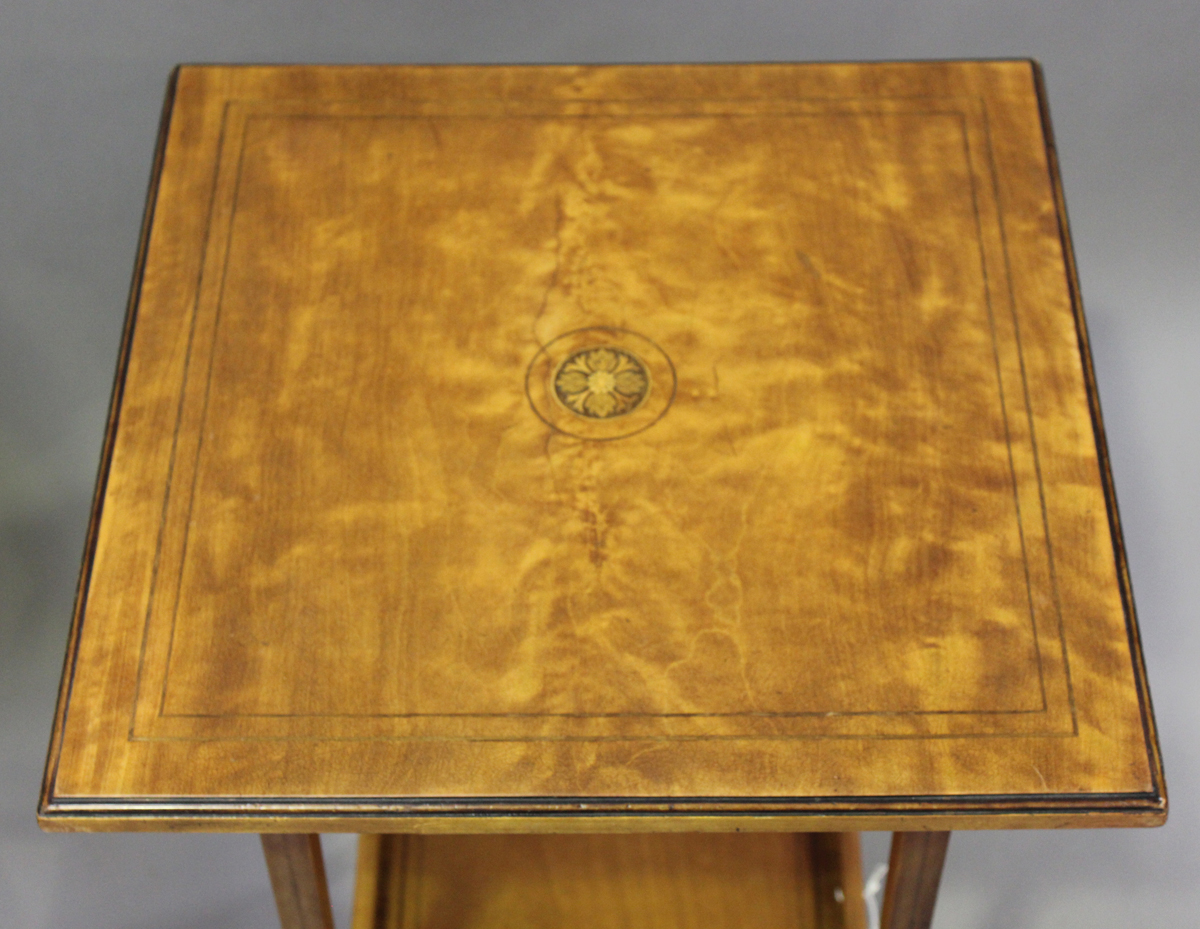An Edwardian satinwood two-tier square occasional table with foliate inlaid decoration, height 64cm, - Image 6 of 6