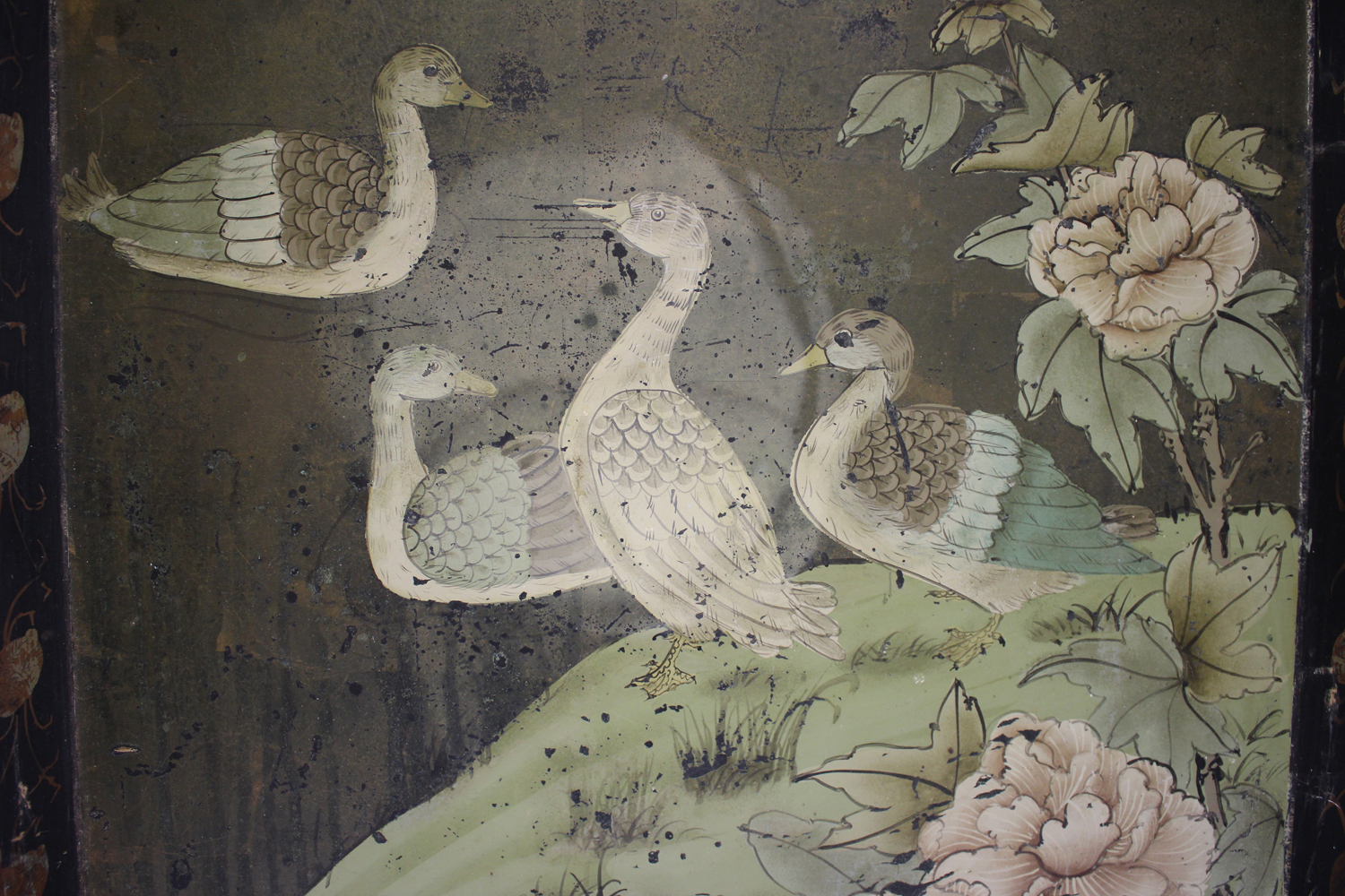 An early 20th century Chinese lacquered gallery tray, painted with ducks at a lakeside, width 54cm. - Image 6 of 7