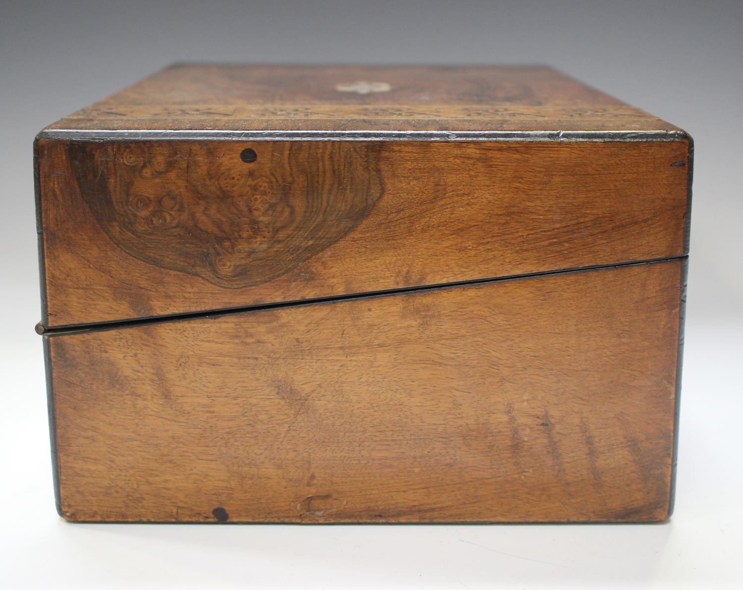 A late Victorian walnut writing slope inlaid with geometric bands, width 35cm.Buyer's Premium 29. - Image 6 of 8