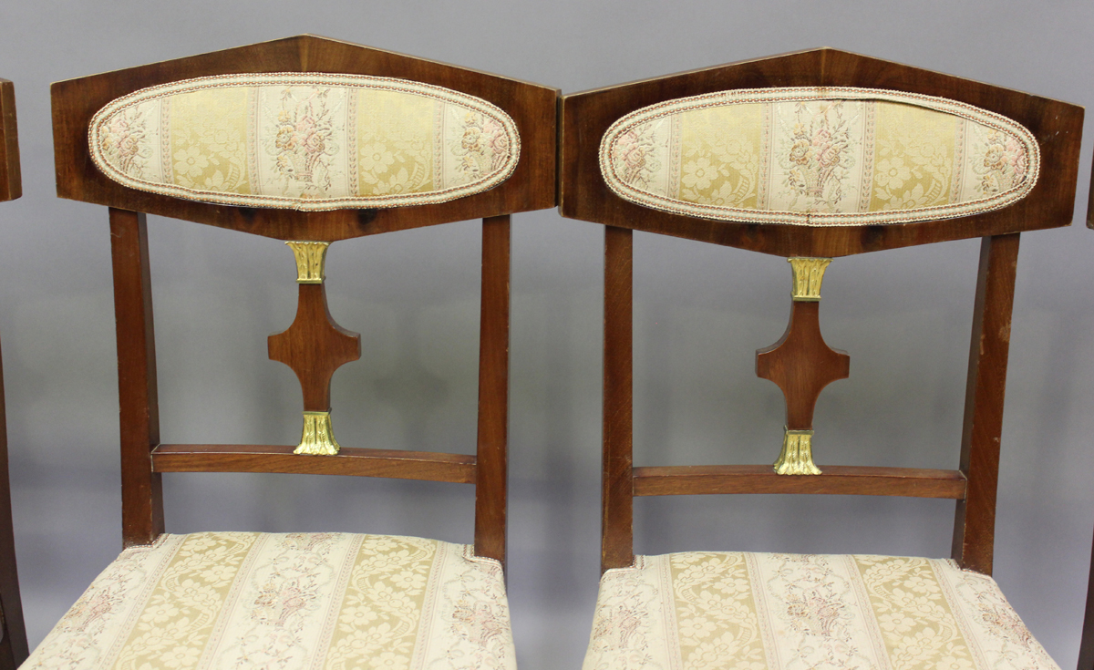 A 20th century Empire style mahogany six-piece salon suite, comprising a pair of armchairs, height - Image 4 of 6