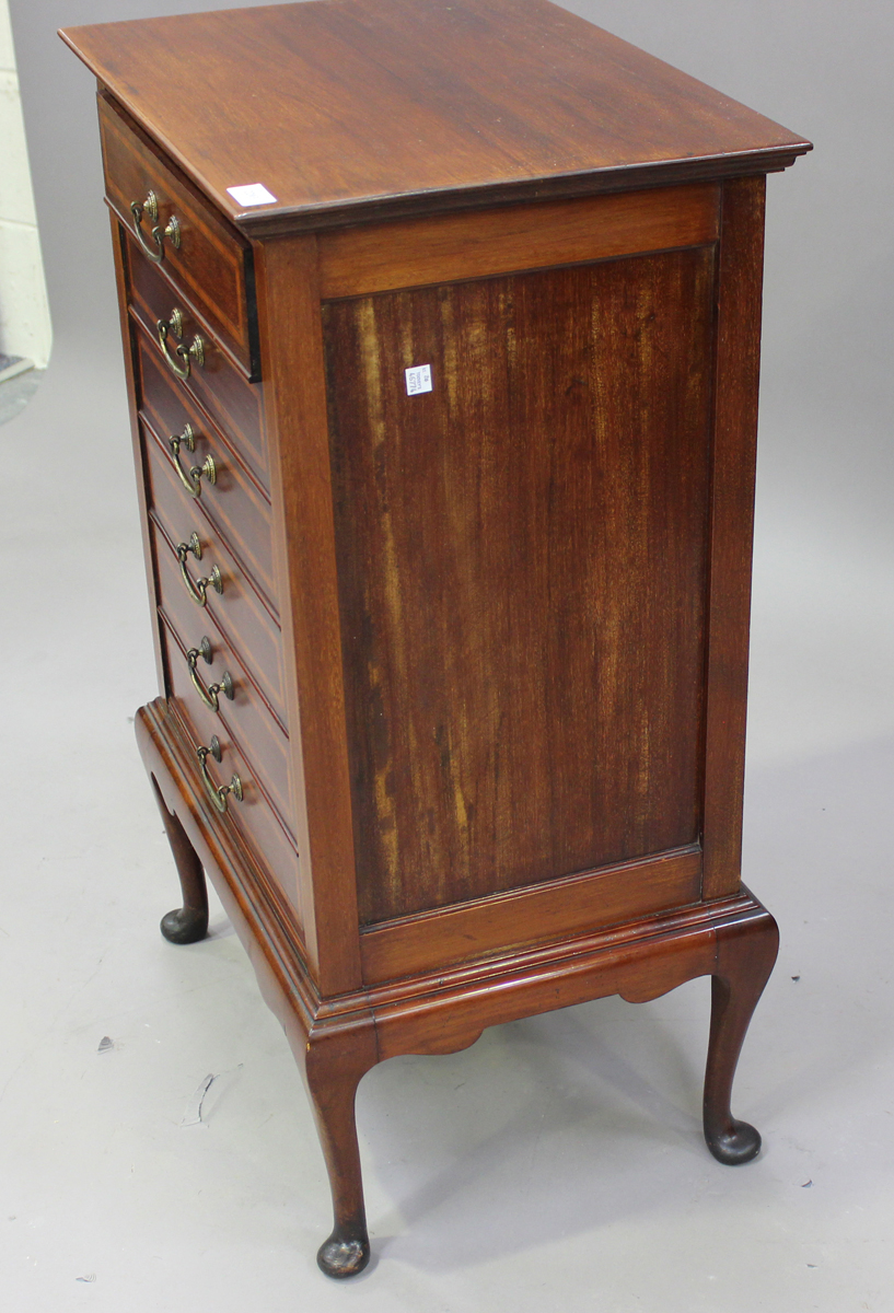 An Edwardian mahogany and satinwood crossbanded music chest, fitted with six drop-front drawers, - Image 4 of 6