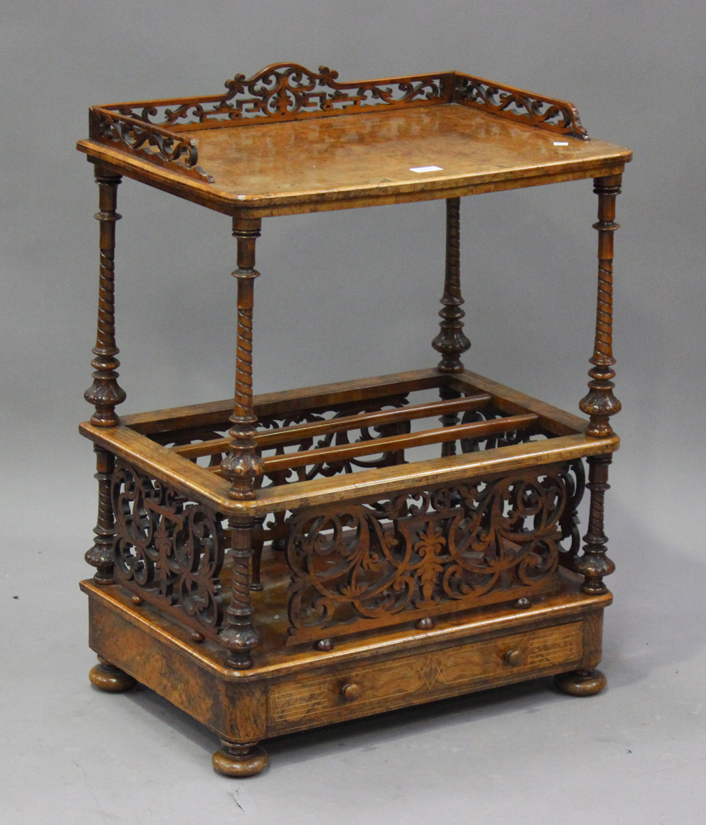 A mid-Victorian burr walnut and boxwood inlaid whatnot Canterbury with pierced fretwork