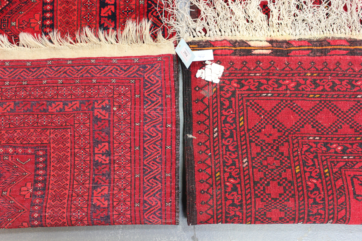 A small Afghan rug, late 20th century, 160cm x 102cm, together with another similar Afghan rug, - Image 2 of 4