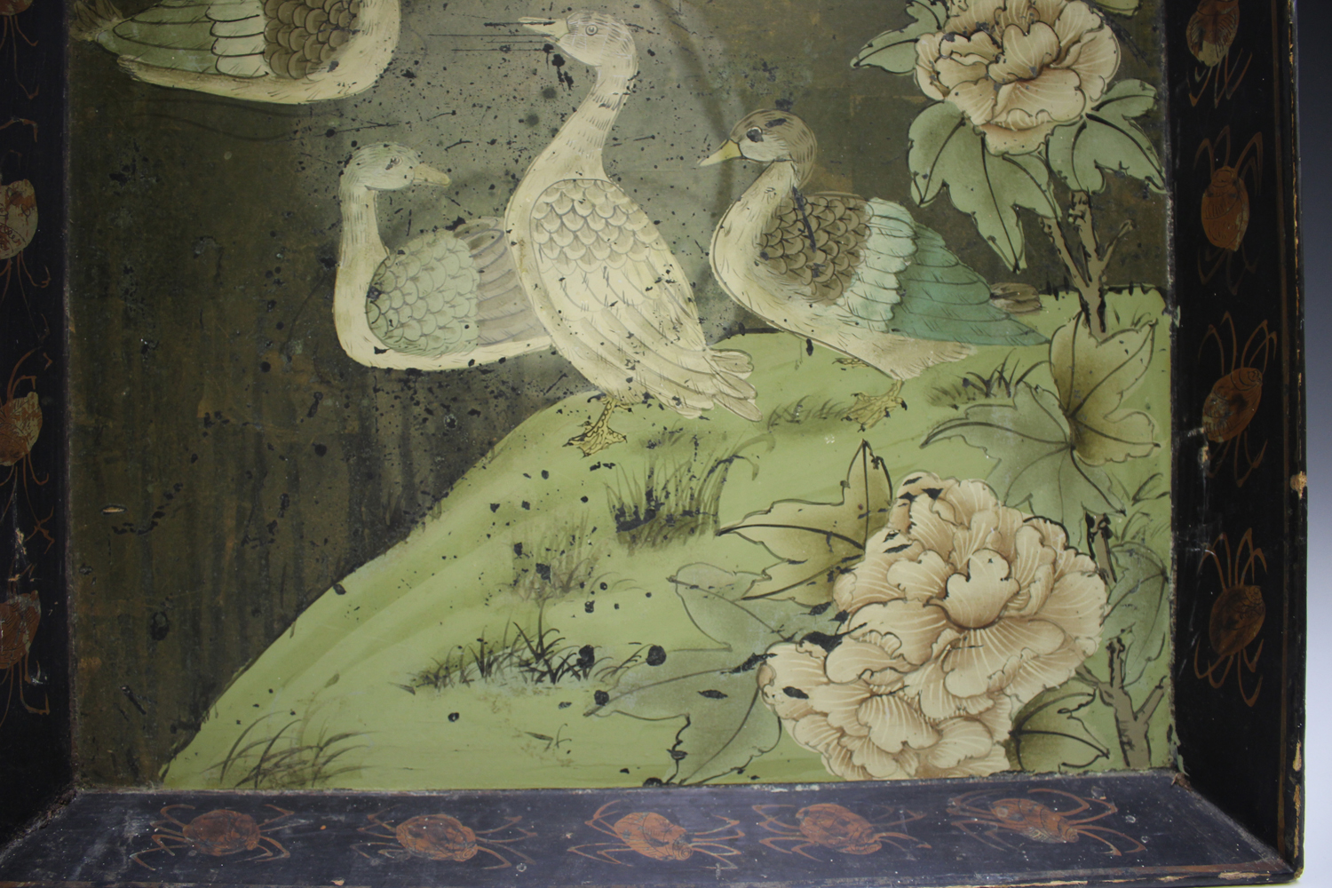 An early 20th century Chinese lacquered gallery tray, painted with ducks at a lakeside, width 54cm. - Image 5 of 7