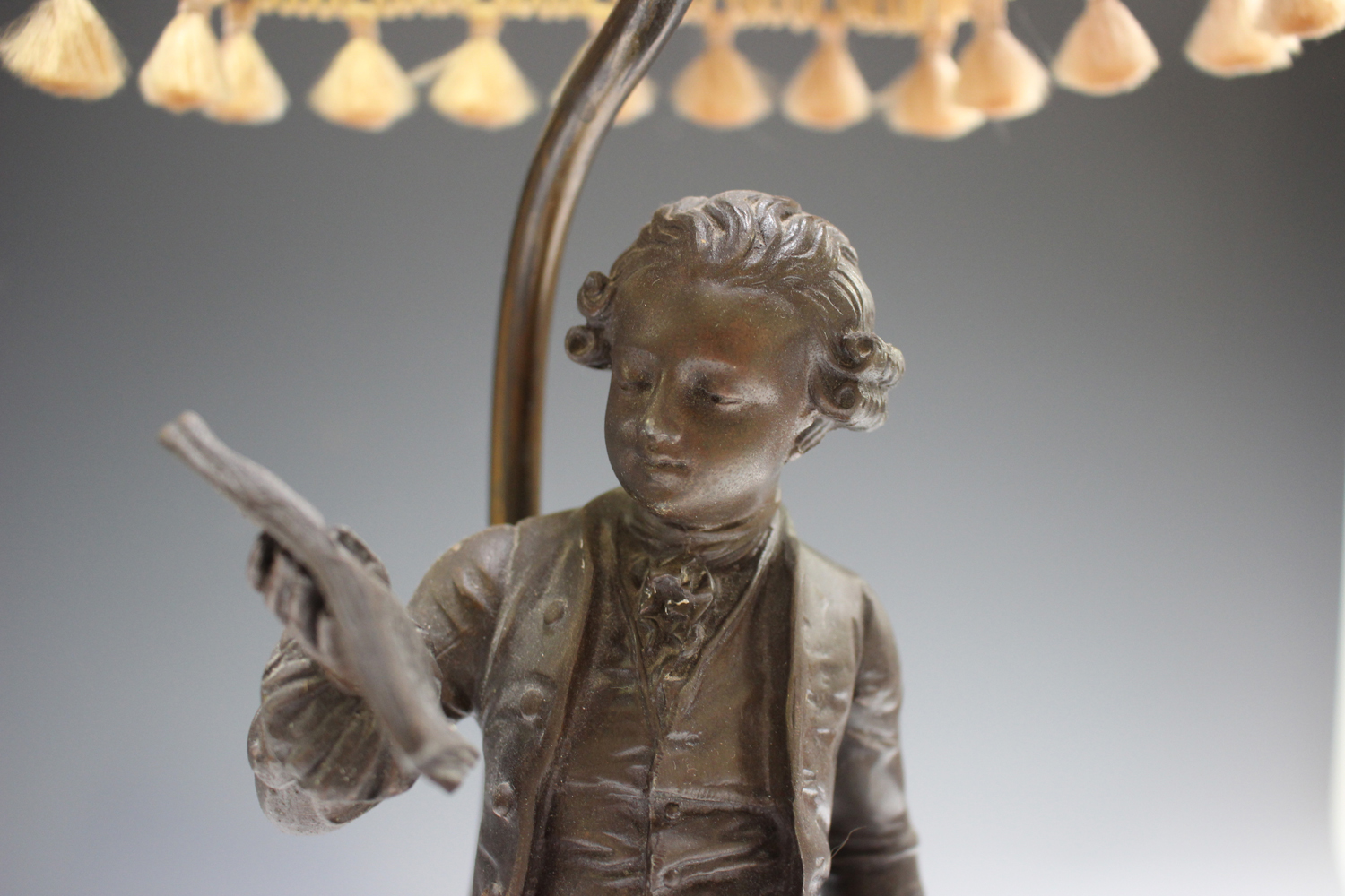 An early 20th century French cast spelter figural table lamp, modelled after Emile Bruchon as the - Image 3 of 4