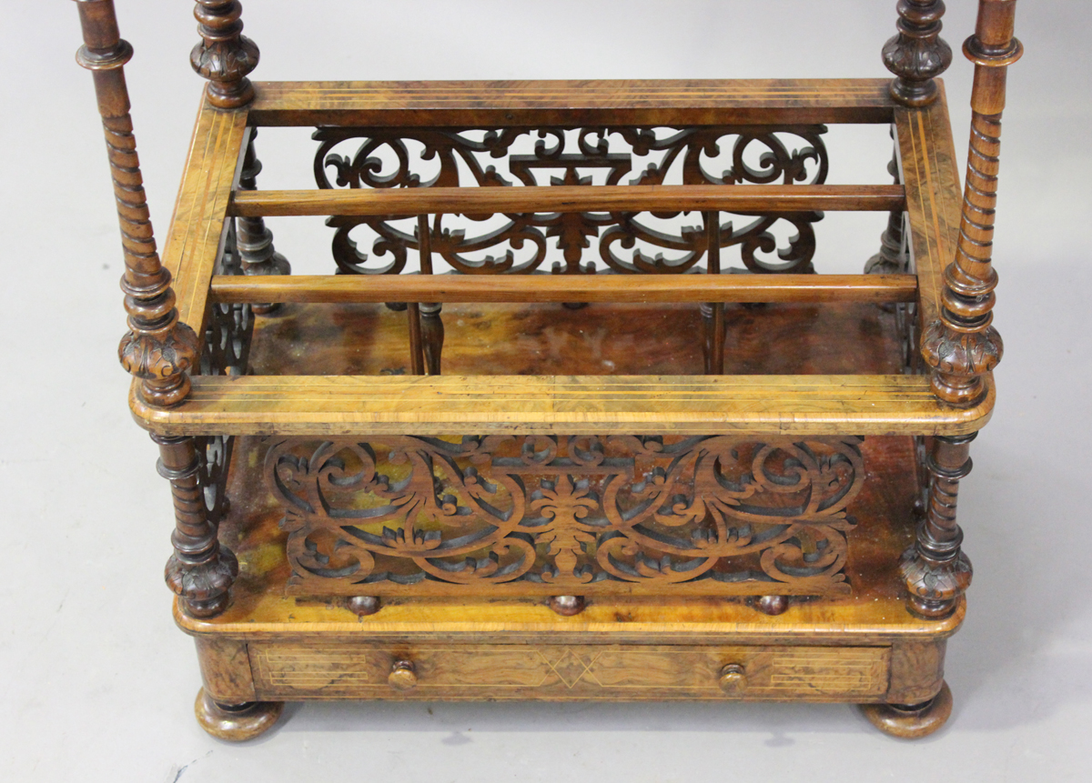 A mid-Victorian burr walnut and boxwood inlaid whatnot Canterbury with pierced fretwork - Image 4 of 4