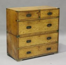 A late 19th century oak and brass bound campaign chest of two short and three long drawers, height
