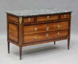 A late 18th century French kingwood commode of three short and two long drawers with crossbanded