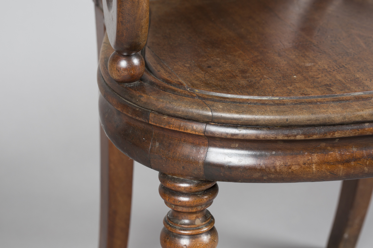 A William IV mahogany elbow hall chair, in the manner of Gillows of Lancaster, the shield back - Image 7 of 10