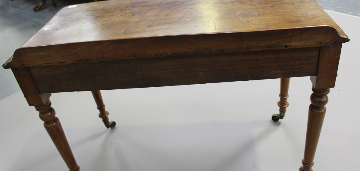 A Victorian mahogany side table, fitted with two frieze drawers, on turned legs, height 80cm, - Image 2 of 7