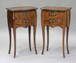 A pair of 20th century French parquetry veneered kingwood bedside chests with gilt metal mounts,