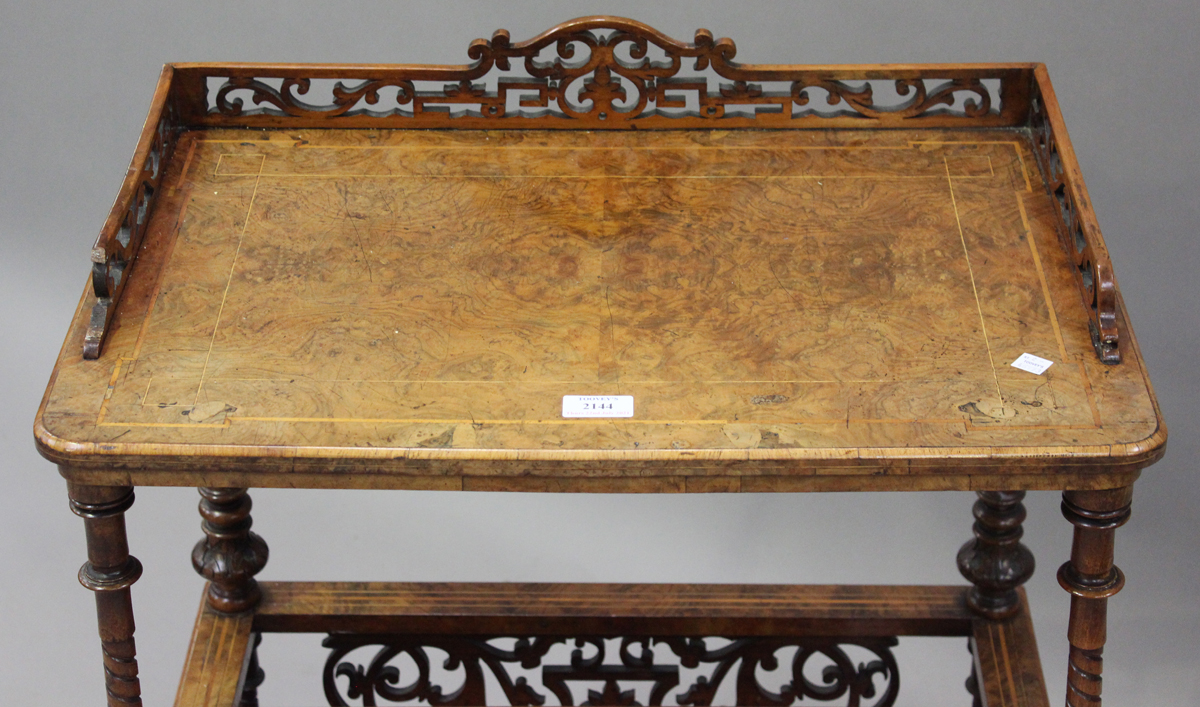 A mid-Victorian burr walnut and boxwood inlaid whatnot Canterbury with pierced fretwork - Image 3 of 4