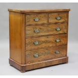 A Victorian mahogany chest of two short and three long drawers, height 104cm, width 106cm, depth