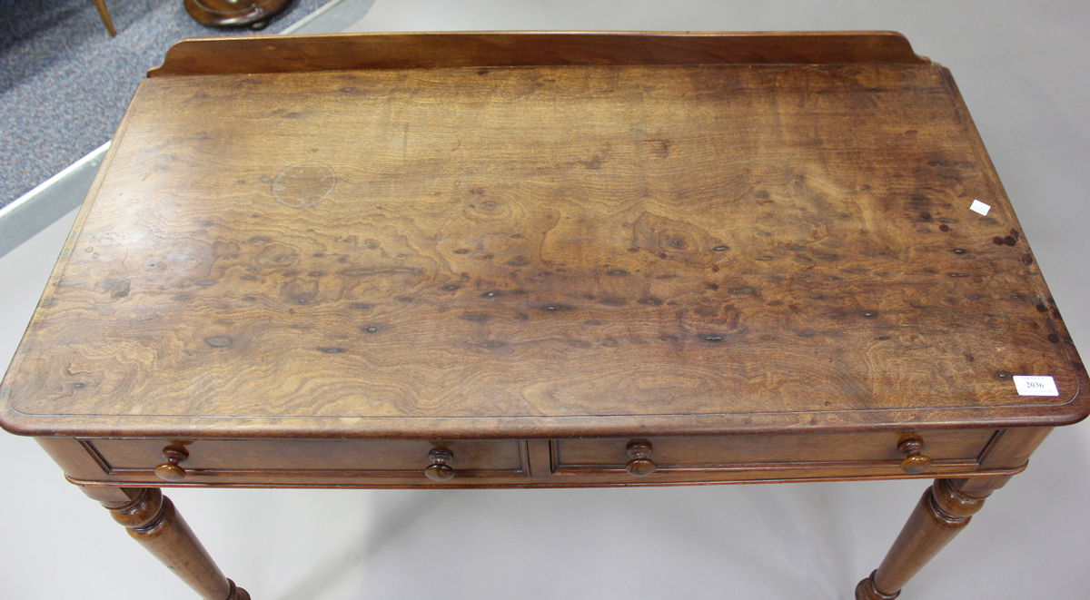A Victorian mahogany side table, fitted with two frieze drawers, on turned legs, height 80cm, - Image 7 of 7