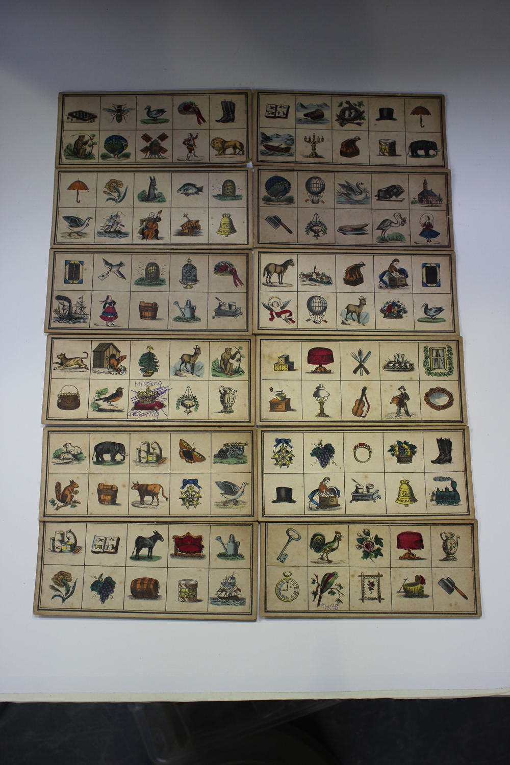 An early/mid-19th century chromolithographed child's picture puzzle game, comprising twelve cards - Image 3 of 6