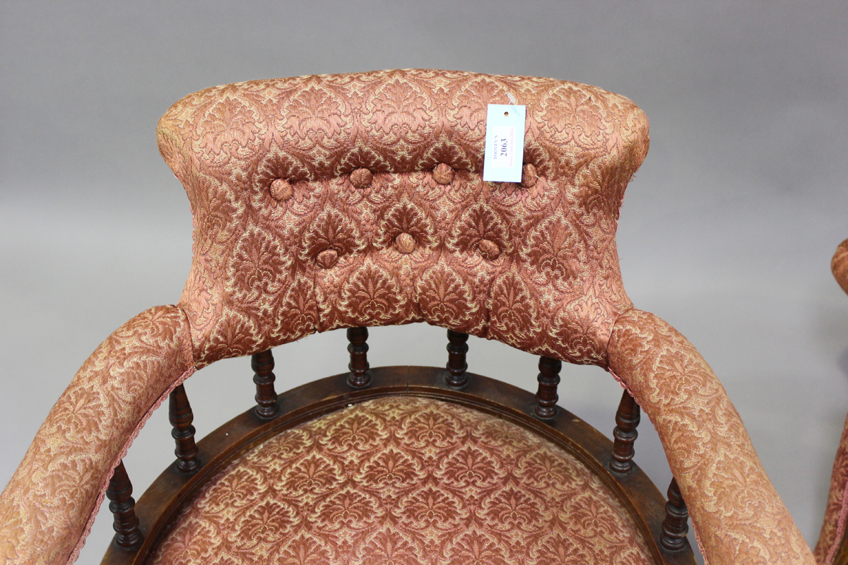 A pair of late Victorian walnut framed tub back salon armchairs, height 73cm, width 60cm, depth - Image 5 of 9