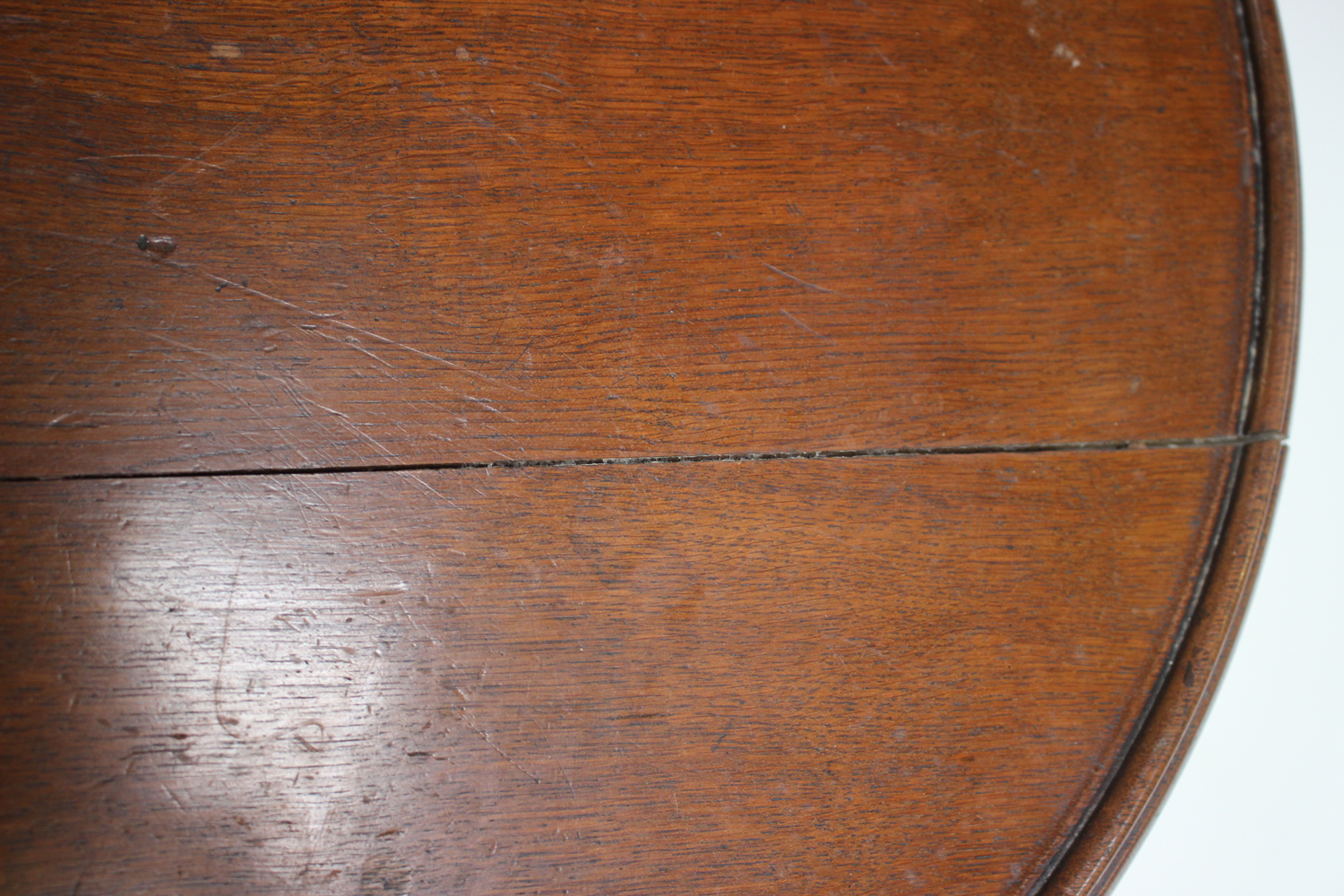 A late Victorian oak revolving lazy Susan, raised on a pierced frieze and scroll legs, height - Image 4 of 5