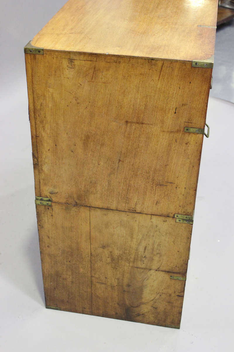 A late 19th century mahogany and brass bound campaign chest of three short and three long drawers, - Image 3 of 7