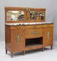 A French Art Deco pollard oak side cabinet with gilt metal mounts, the mirror back above a marble