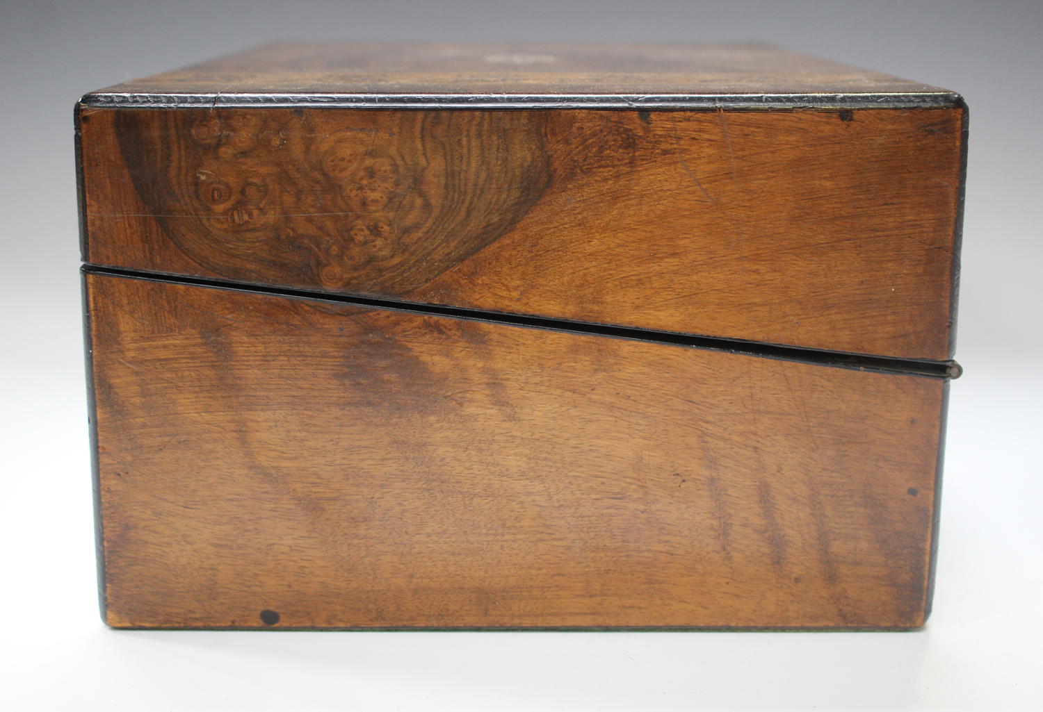 A late Victorian walnut writing slope inlaid with geometric bands, width 35cm.Buyer's Premium 29. - Image 4 of 8