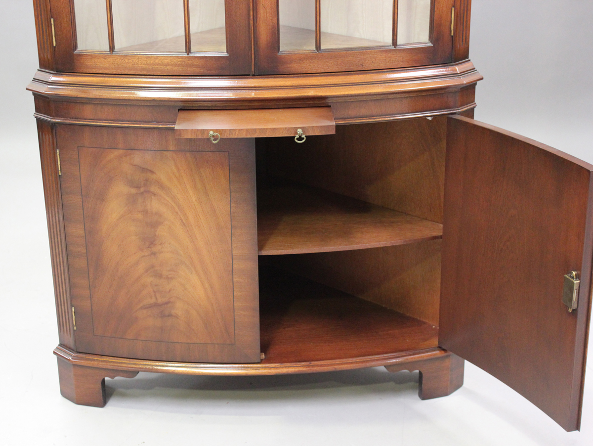 A modern reproduction mahogany bowfront corner display cabinet by Bevan Funnell, height 189cm, width - Image 2 of 2