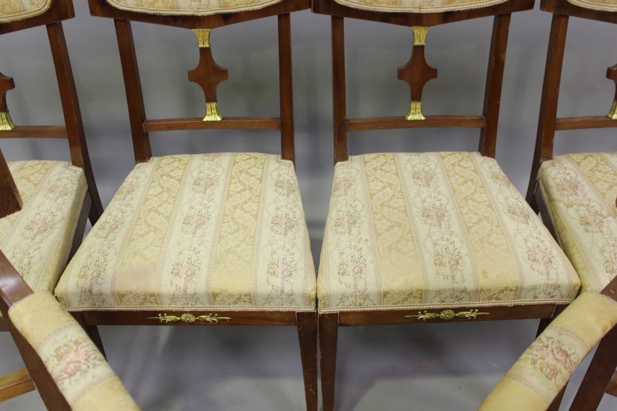 A 20th century Empire style mahogany six-piece salon suite, comprising a pair of armchairs, height - Image 3 of 6