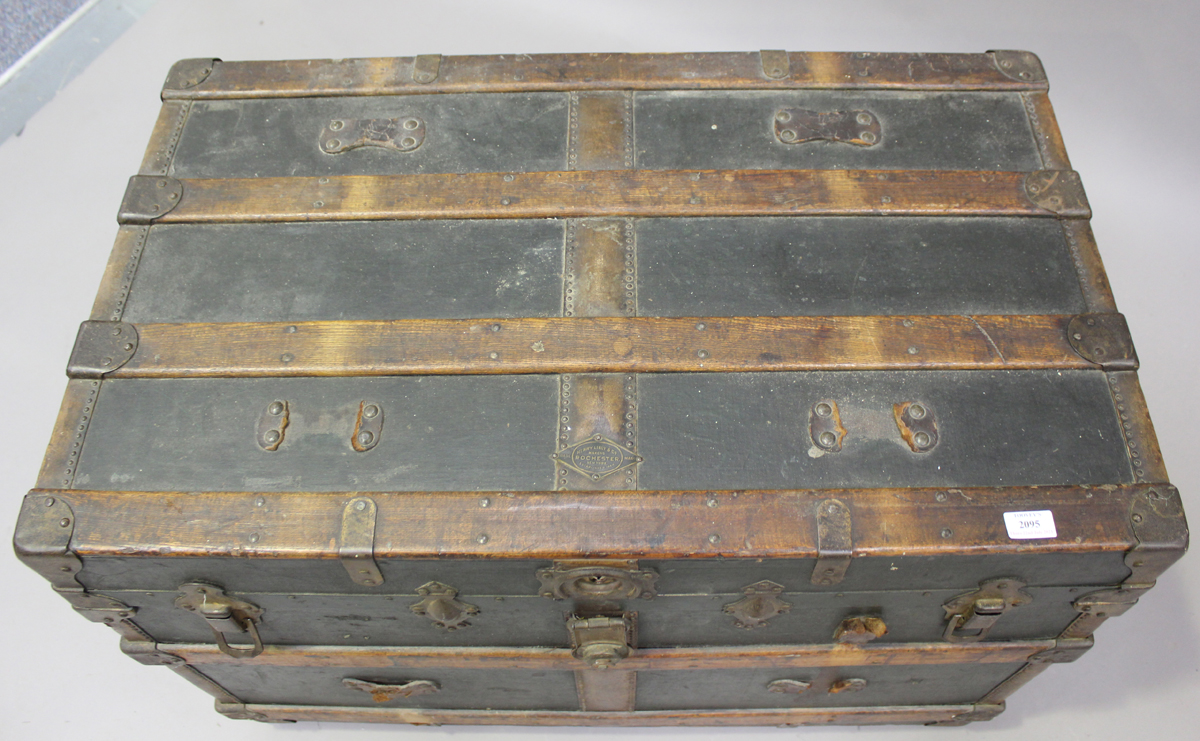 A late 19th century American brass bound travelling trunk by Henry Likly & Co, Rochester, New - Image 6 of 7