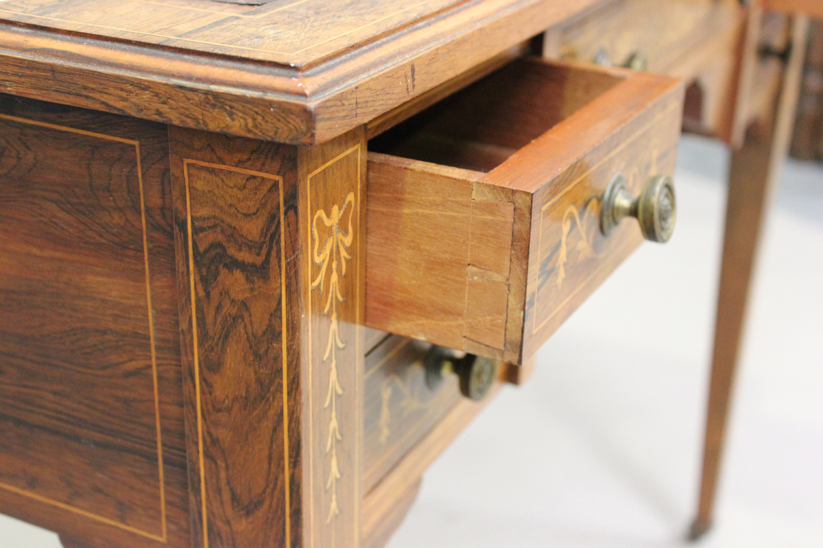 A late Victorian rosewood writing table with boxwood foliate and line inlaid decoration, height - Image 3 of 5