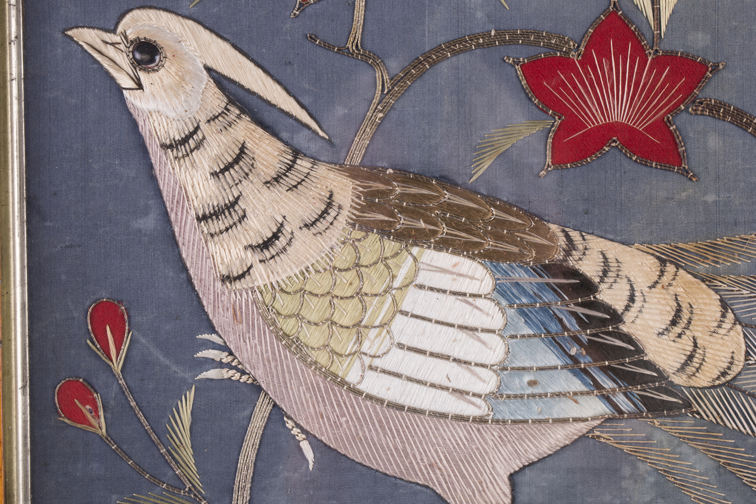 A near pair of late 19th century Japanese silk and metal thread stumpwork panels, both depicting - Image 18 of 31