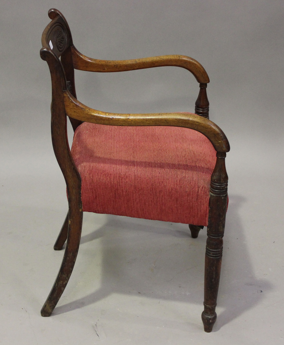 A Regency mahogany bar back elbow chair with carved back and red velour padded seat, height 82cm, - Image 2 of 4