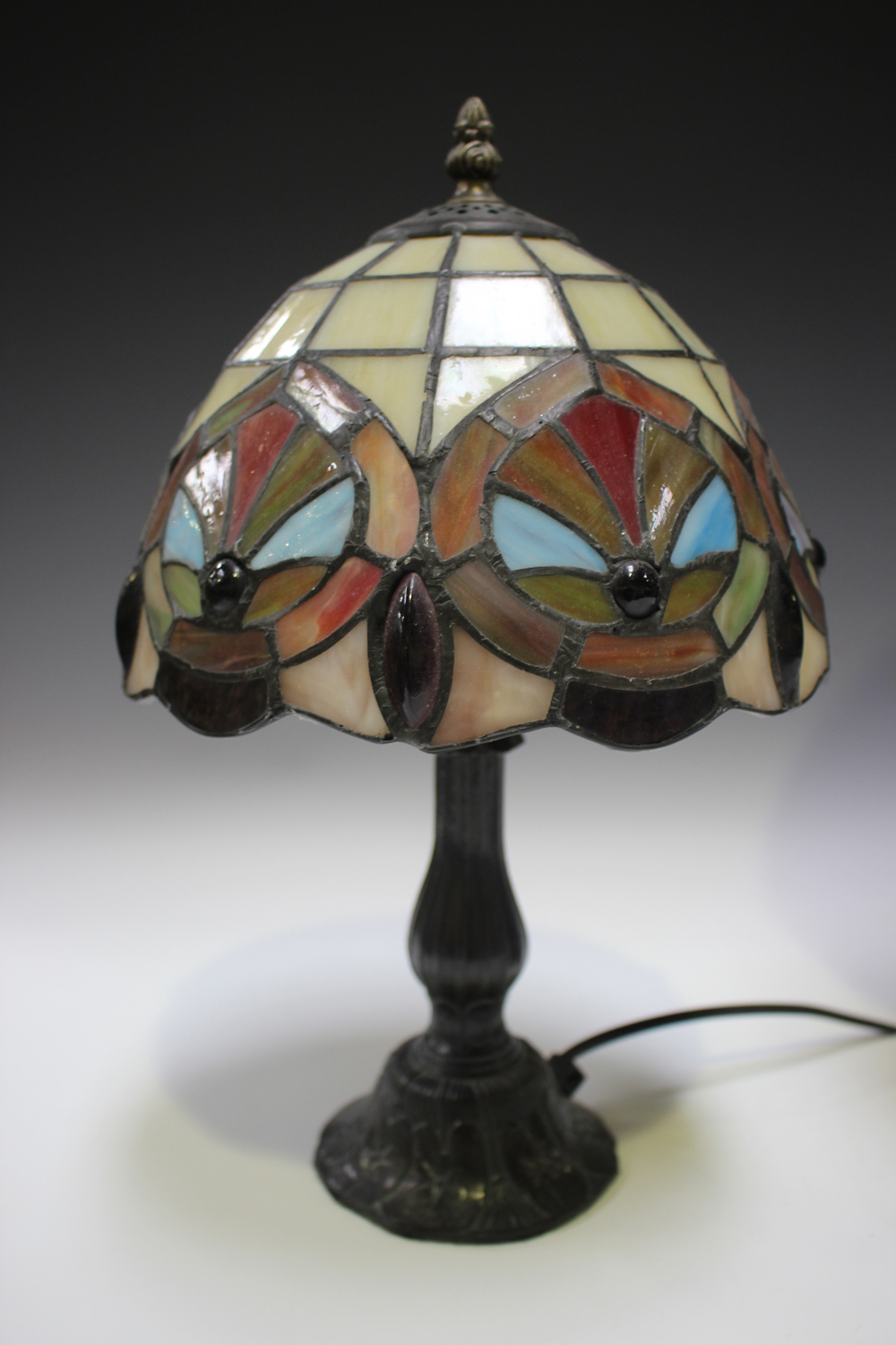 A modern Tiffany style table lamp with a stained and leaded glass domed shade, height 53cm, together - Image 7 of 8