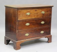 A George III mahogany secrétaire chest, the fall-front revealing a fitted interior above two