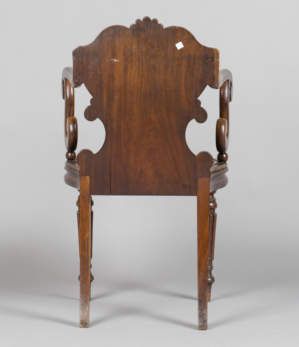 A William IV mahogany elbow hall chair, in the manner of Gillows of Lancaster, the shield back - Image 4 of 10