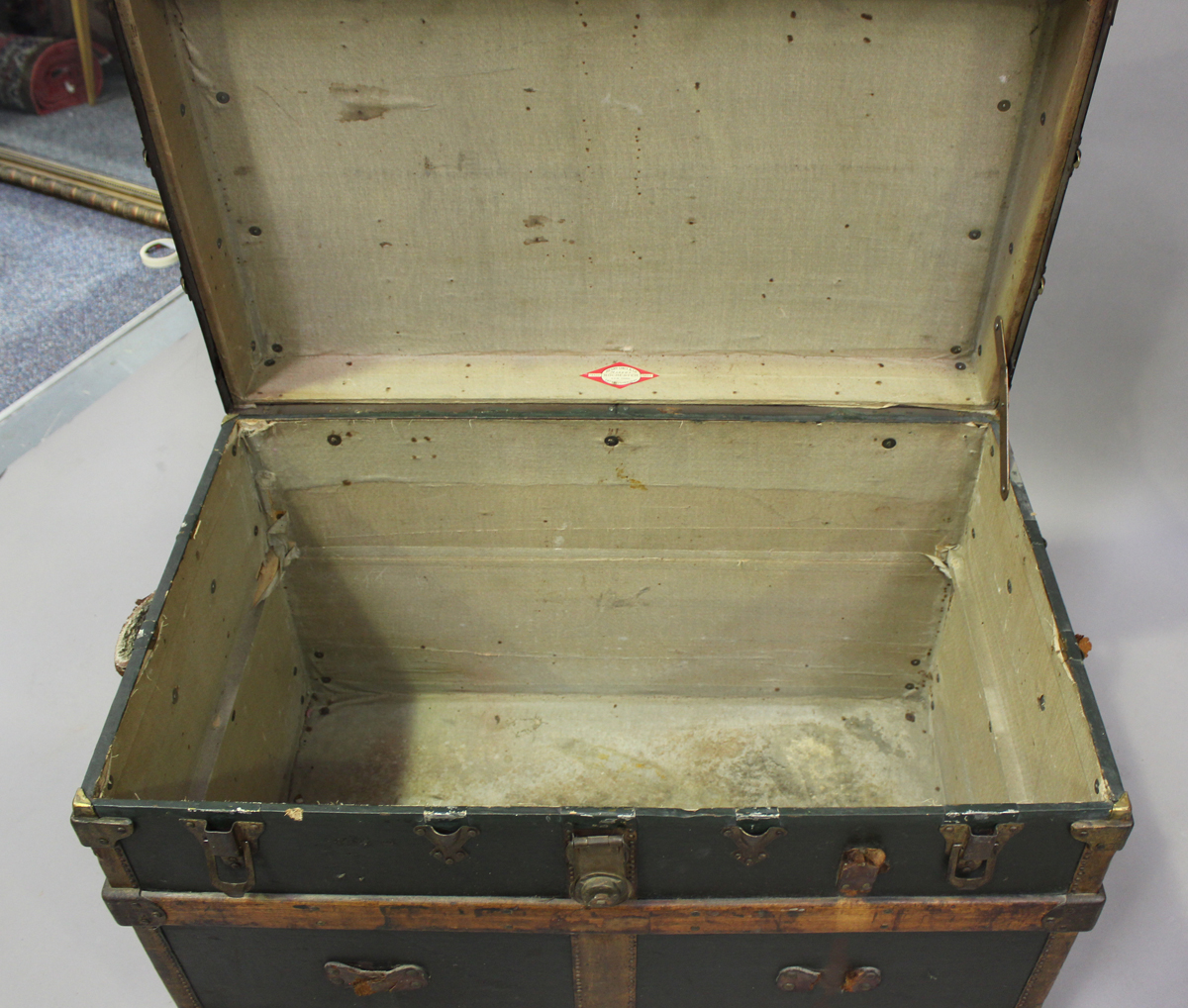 A late 19th century American brass bound travelling trunk by Henry Likly & Co, Rochester, New - Image 3 of 7