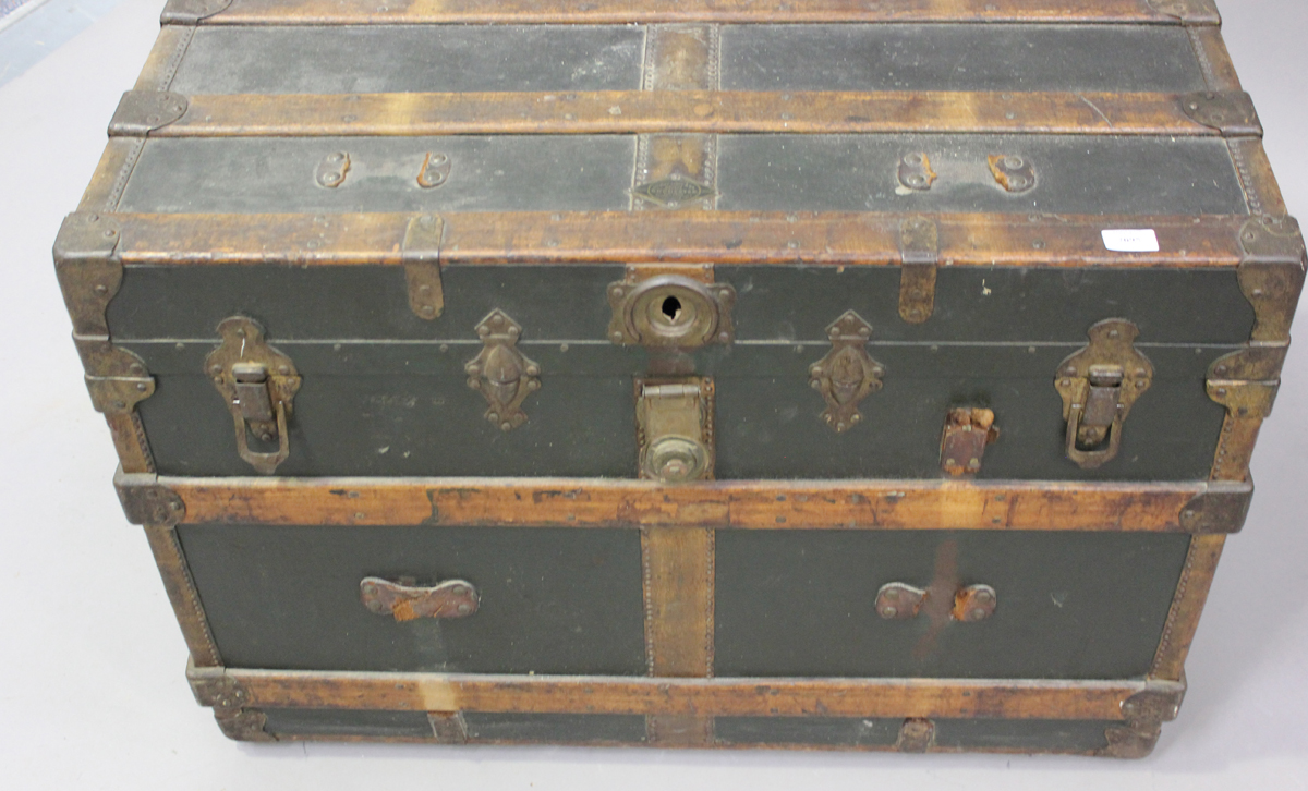 A late 19th century American brass bound travelling trunk by Henry Likly & Co, Rochester, New - Image 7 of 7