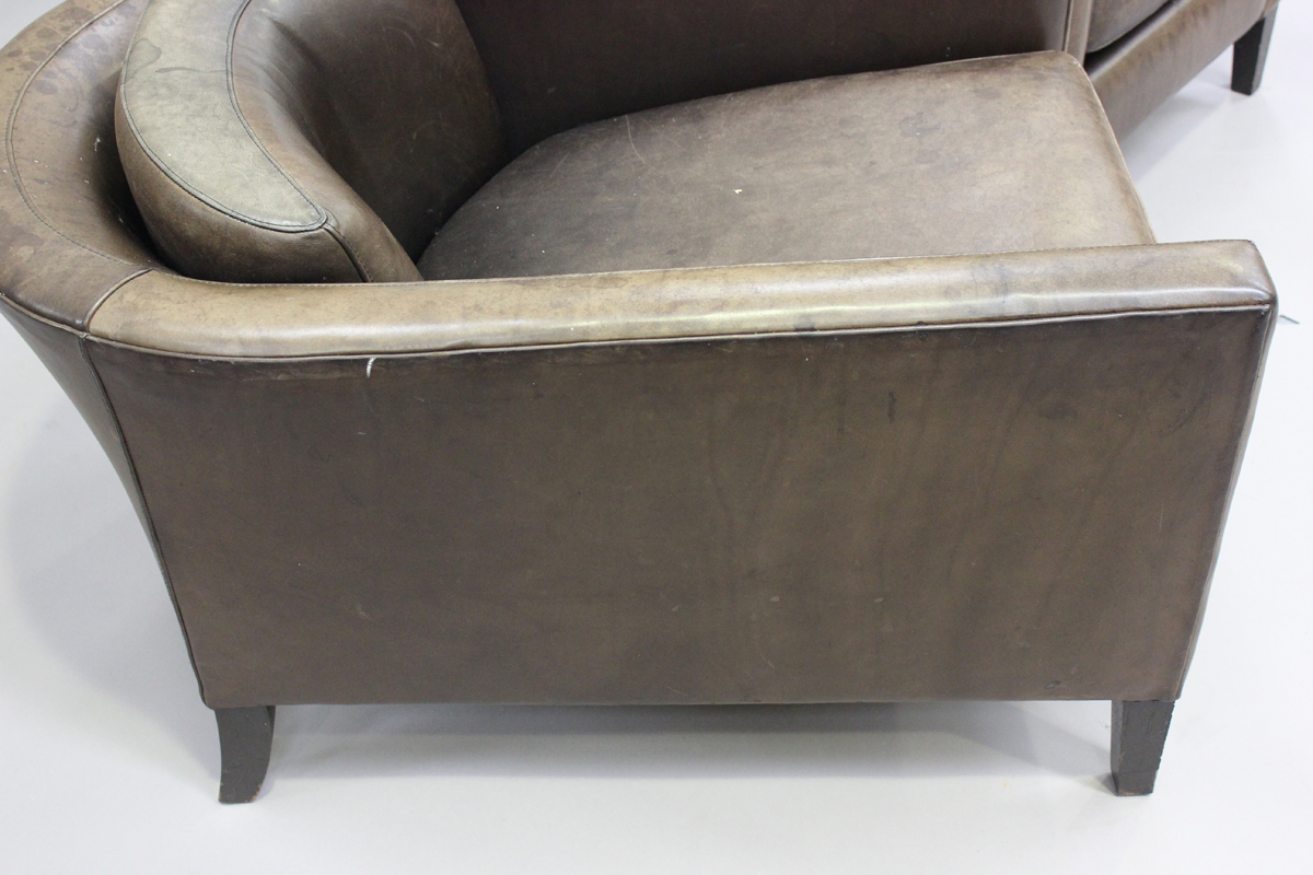 A pair of mid/late 20th century brown leather Marlborough style tub back armchairs, possibly - Image 2 of 5
