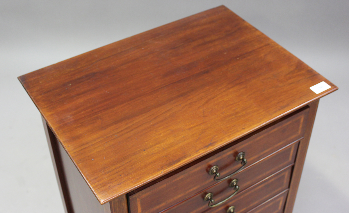 An Edwardian mahogany and satinwood crossbanded music chest, fitted with six drop-front drawers, - Image 2 of 6