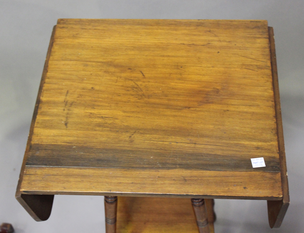 An Edwardian satinwood two-tier square occasional table with foliate inlaid decoration, height 64cm, - Image 5 of 6