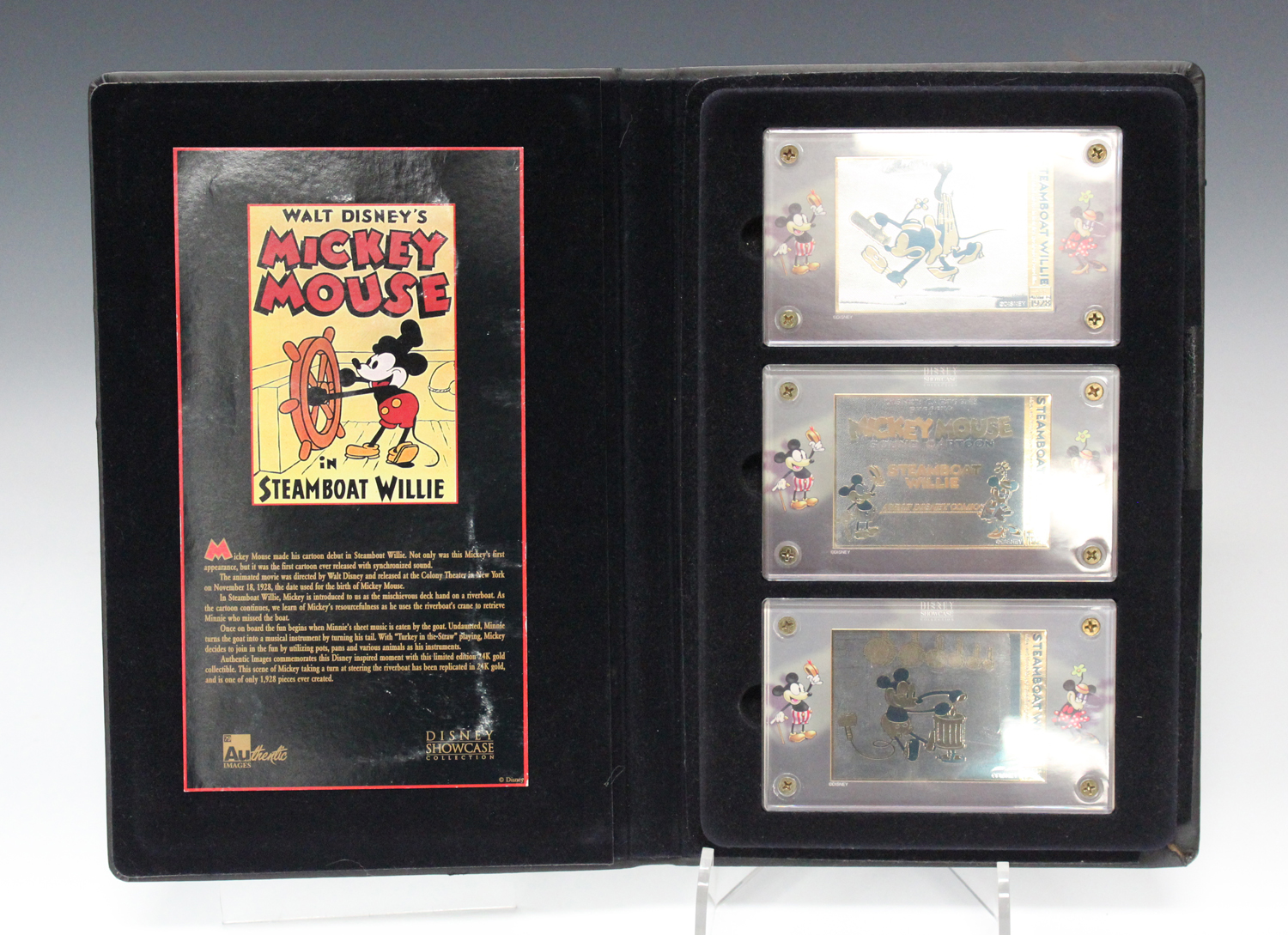 A set of three limited edition Walt Disney's Mickey Mouse in Steamboat Willie '24K gold' plated