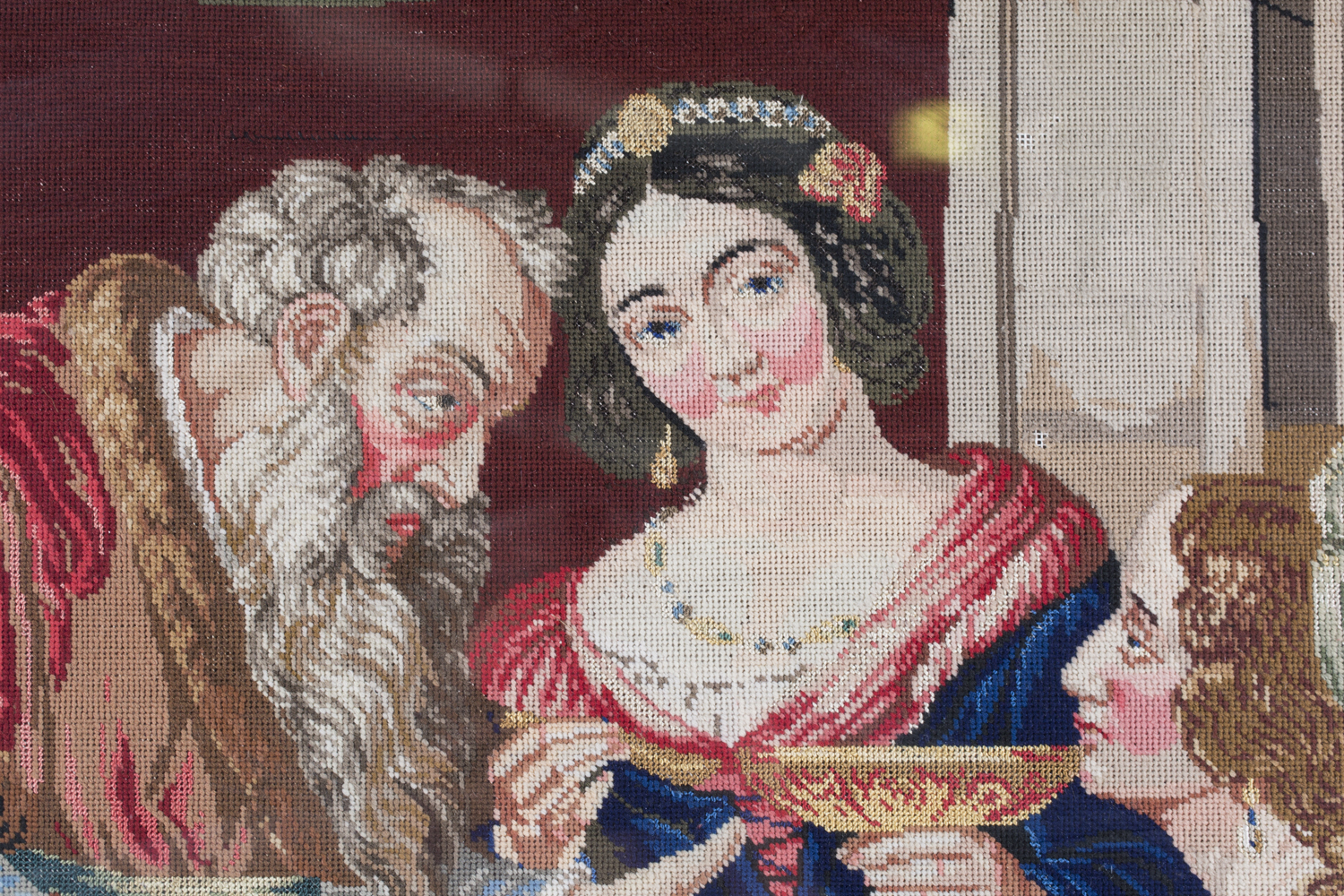 A Victorian Berlin woolwork panel depicting a seated king and two ladies, 75cm x 66cm, within a - Image 10 of 13