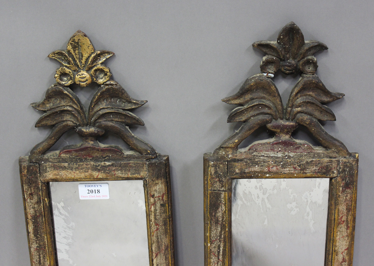A pair of Italian gilt and simulated marble pier mirrors, probably 18th century, each narrow frame - Image 7 of 7