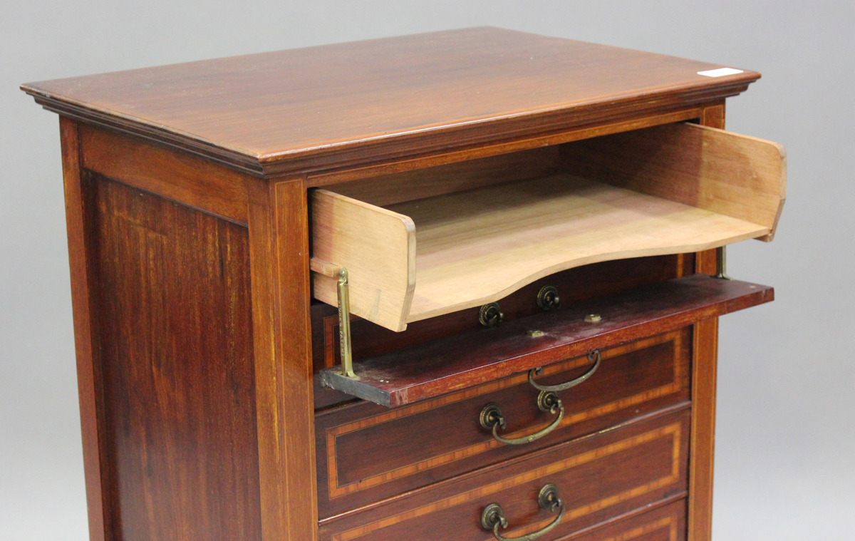 An Edwardian mahogany and satinwood crossbanded music chest, fitted with six drop-front drawers, - Image 6 of 6
