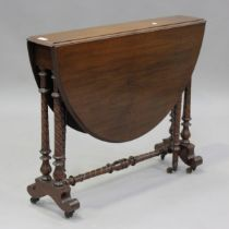 A late Victorian walnut oval Sutherland table, on spiral fluted legs and brass castors, height 73cm,