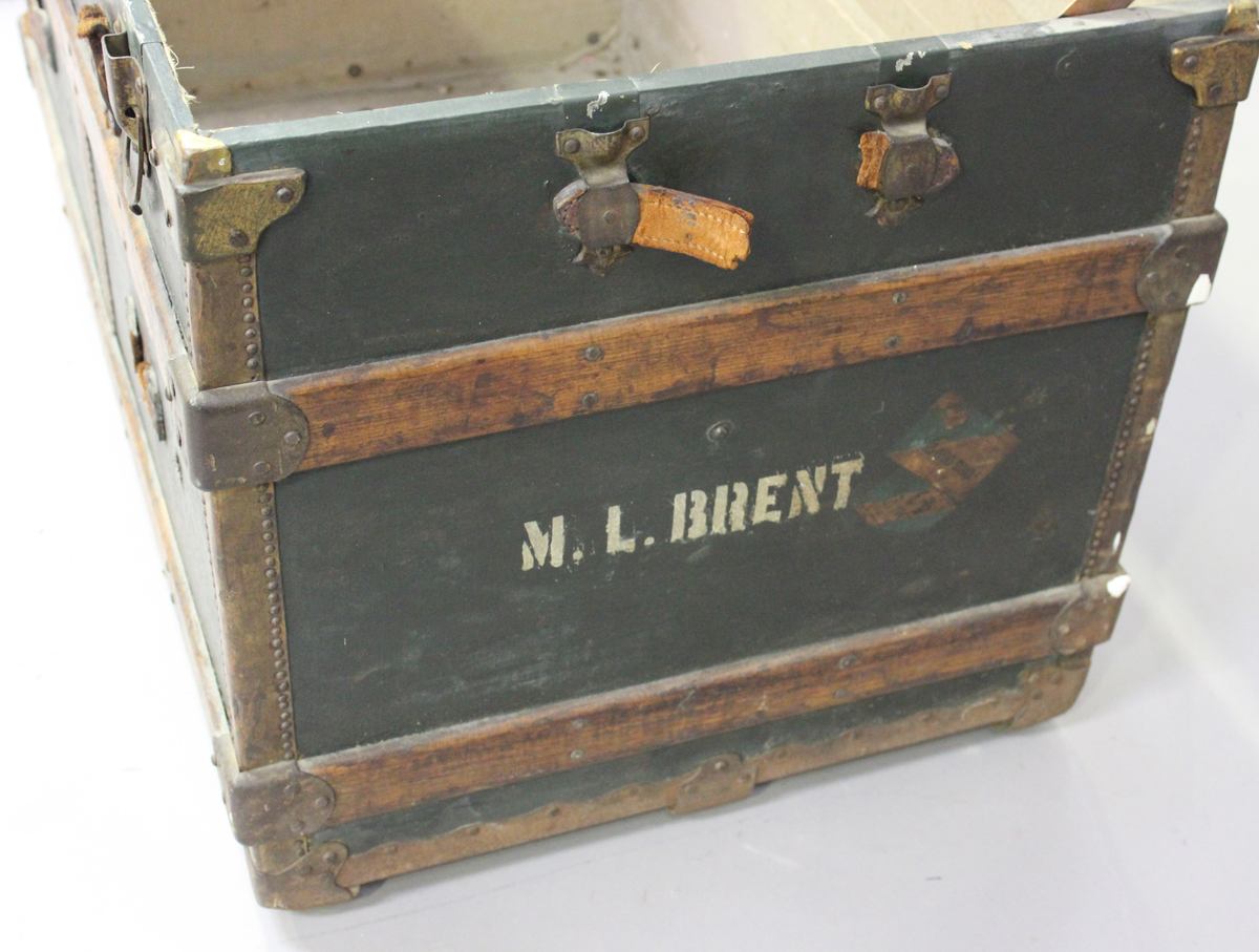 A late 19th century American brass bound travelling trunk by Henry Likly & Co, Rochester, New - Image 2 of 7