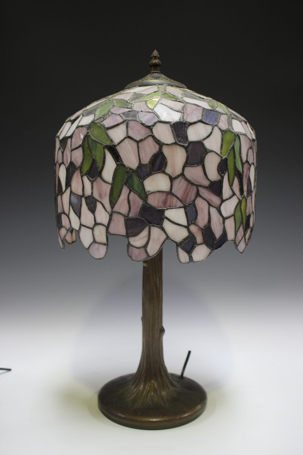 A modern Tiffany style table lamp with a stained and leaded glass domed shade, height 53cm, together - Image 8 of 8