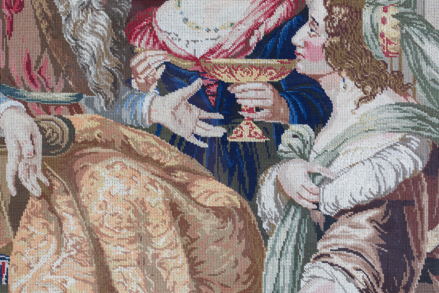 A Victorian Berlin woolwork panel depicting a seated king and two ladies, 75cm x 66cm, within a - Image 7 of 13